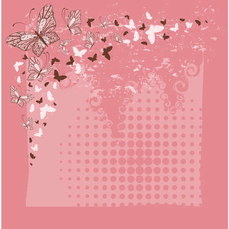 Grunge background with tropical butterflies Vector