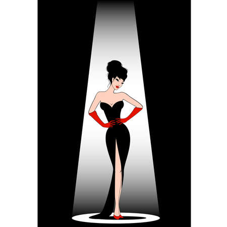 cowards: Beautiful pin-up girl in retro style.