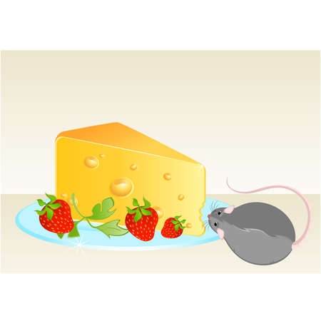 Funny rat and cheese Stock Vector - 7048791