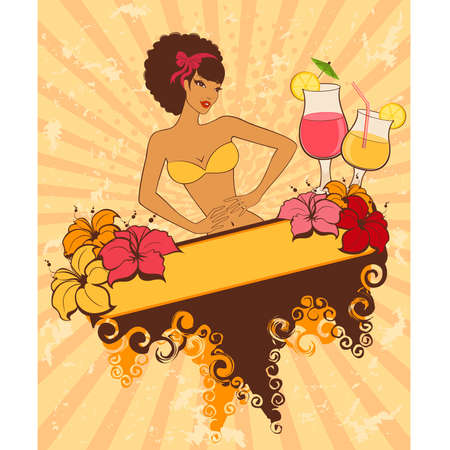 Beautiful pin-up girl with cocktail in retro style Vector
