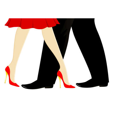 womanish and masculine legs dance a tango Vector