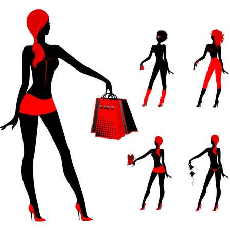 happy black woman: set of beautiful silhouettes of girls Illustration