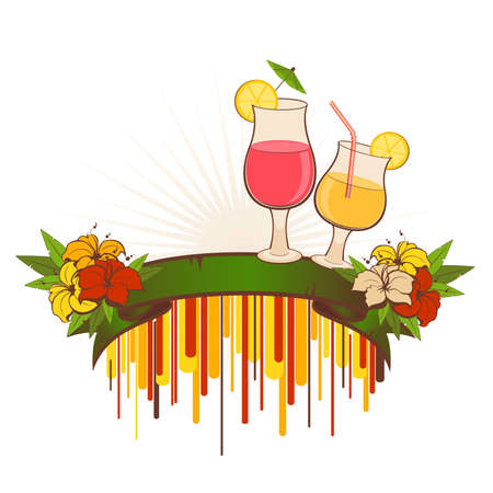 daiquiri: grunge background with  flowers and cocktail