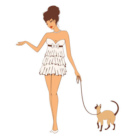 retro fashion: Beautiful pin-up girl with cat in retro style