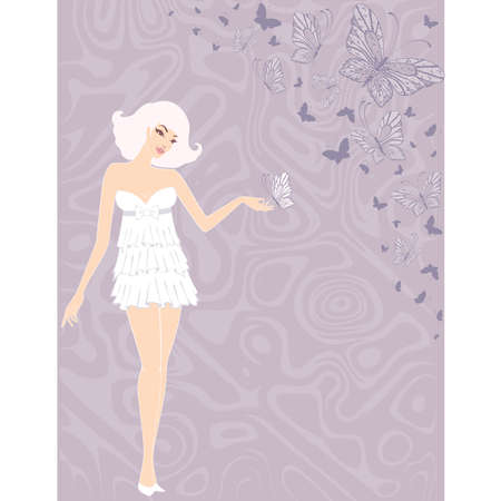 Beautiful pin-up girl with cocktail in retro style. Vector