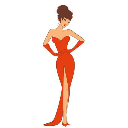 Beautiful sexy pin-up girl in retro stijl.