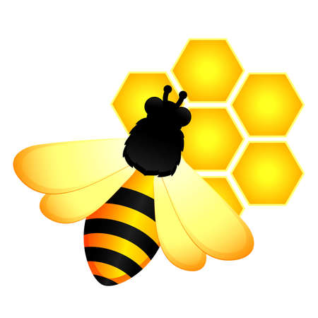 hives: beautiful bright background with funny bees