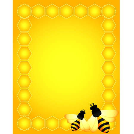 beautiful bright background with funny bees Vector