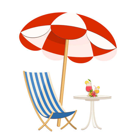 beach scene: dinner-wagon with a cocktail,