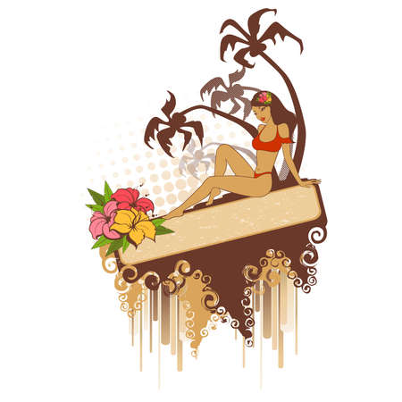 Beautiful girl on a summer beach Illustration