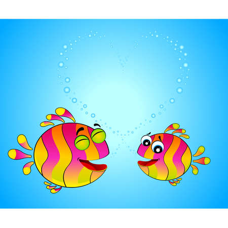 colorful fish in love for the day of Valentine