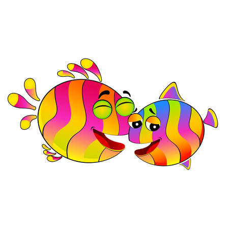 colorful fish in love for the day of Valentine Vector