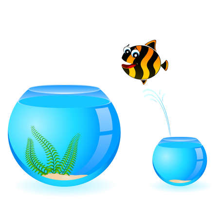little colorful tropical fish in aquarium Stock Vector - 7145247