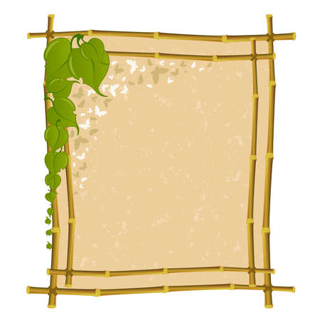 frame from a bamboo with green leaves Vector