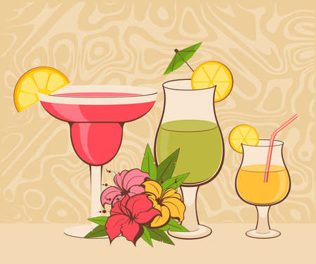 daiquiri:  background with tropical flowers and cocktail
