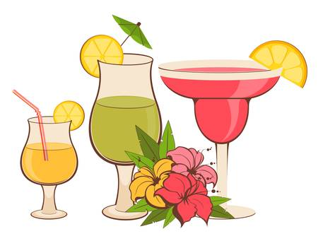 background with tropical flowers and cocktail Vector