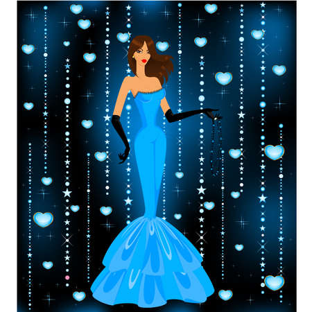 red hair beauty: beautiful woman in an evening dress  Illustration