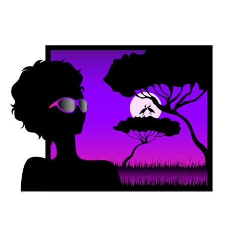 girl against a decline in a safari Vector
