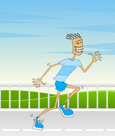 pursue: An attractive athletic man hurrying