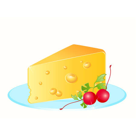 chunk: Tasty yellow cheese on a plate