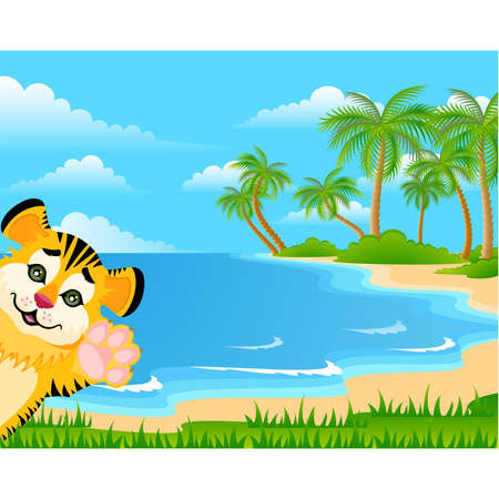 fur trees: Lovely tiger toddler Illustration