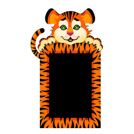 tigre caricatura: signo a�os 2010 es un tigre de poco hermoso  Vectores