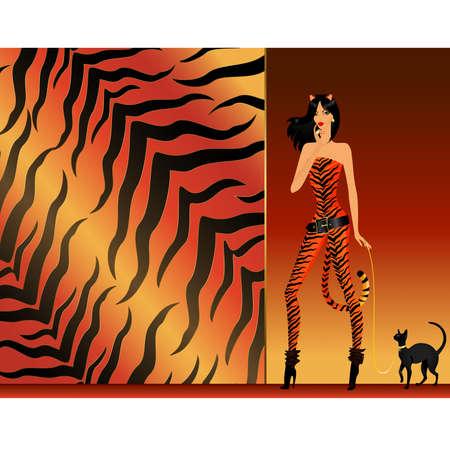 tigresa: chica en una tigresa de traje con gato