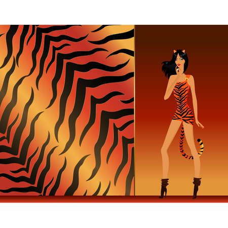 tigresa: hermosa chica en una tigresa de traje