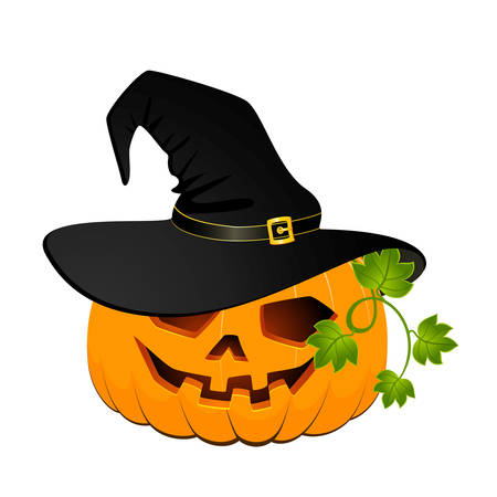trick: carved face of pumpkin in hat on Halloween