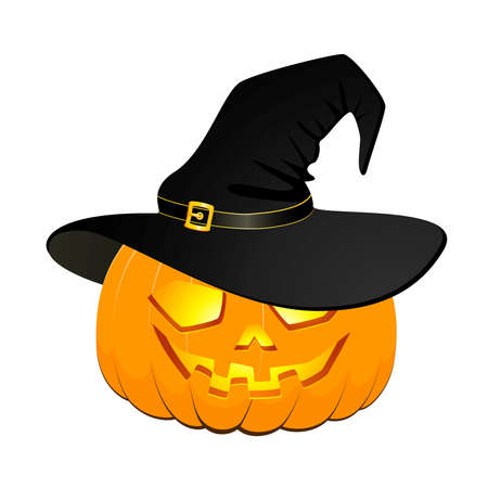 halloween witch: carved face of pumpkin in hat on Halloween