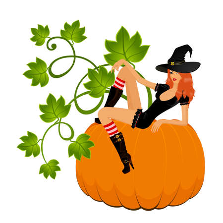 beautiful witch sits on a pumpkin