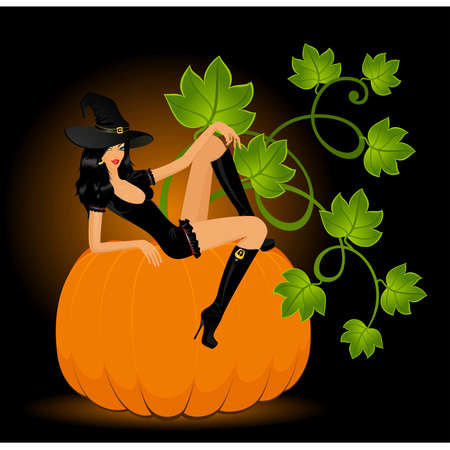 dracula: beautiful sexual witch sits on a pumpkin