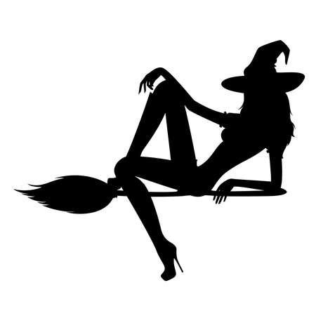 heks: mooie seksuele heks zit op een bezem  Stock Illustratie