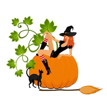 brujas caricatura: bella bruja sexual y la calabaza y el gato
