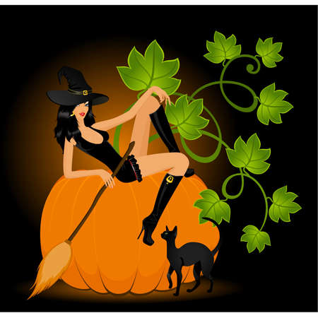 sexy halloween girl: beautiful sexual witch and pumpkin and cat