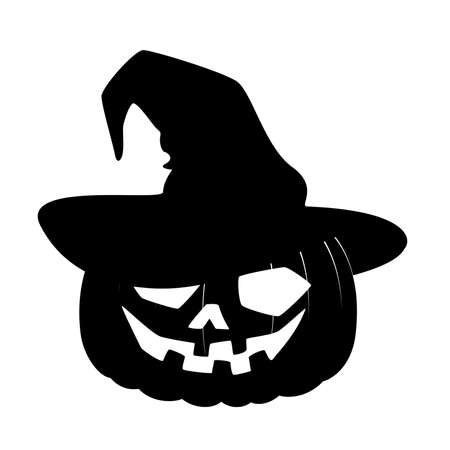 trick or treat: carved face of pumpkin in hat on Halloween