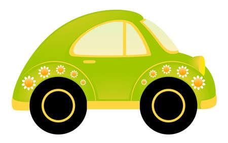 coche antiguo: coche de dibujos animados de vector sobre fondo blanco