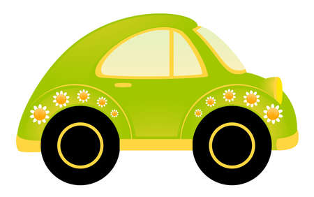 vector cartoon car on white background photo