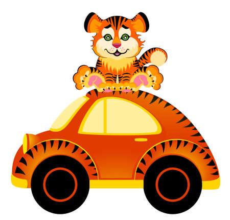 cartoon car and tiger photo