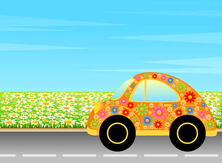car on a background summer landscape Stock Photo - 7260369