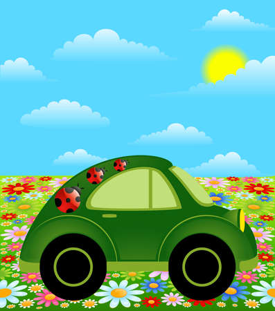 cartoon car on a background summer landscape photo