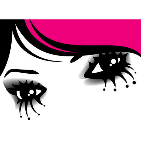 emo: womanish eyes with bright mak-up in style of emo Illustration