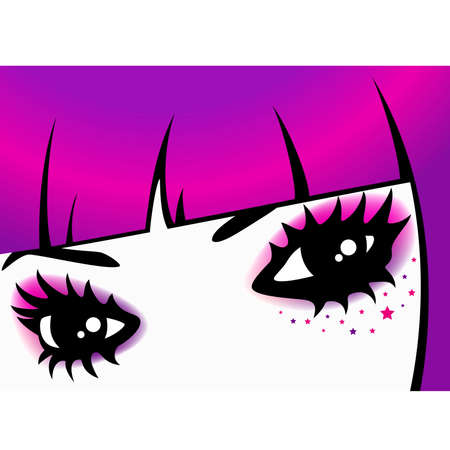 upset woman:  eyes with bright mak-up in style of emo Illustration