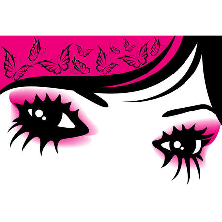 womanish eyes with bright mak-up  with butterfly Vector