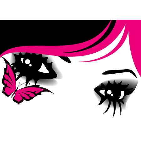upset woman: womanish eyes with bright mak-up with butterfly Illustration