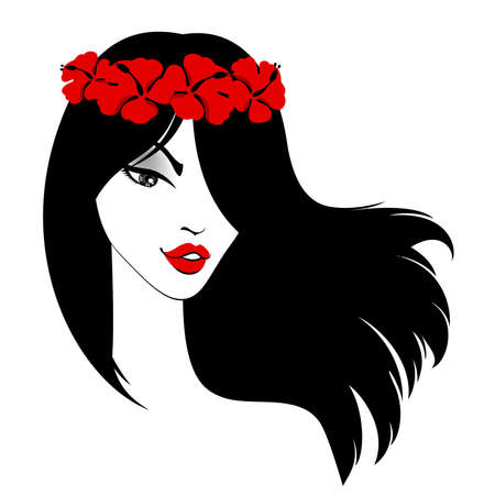 red head woman: beautiful girl with flowers in black hairs Illustration