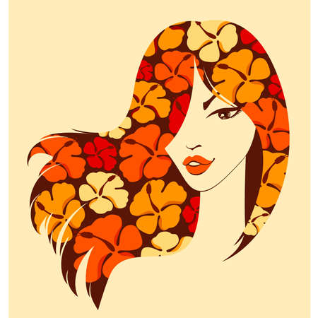 red hair beauty: beautiful girl with flowers in black hairs Illustration