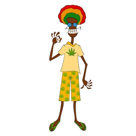 rasta man with traditional clothes smoke Vector