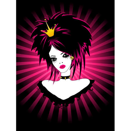 portrait of beautiful girl of emo Stock Vector - 7268507