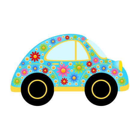 juguetes antiguos: coche de dibujos animados  Vectores